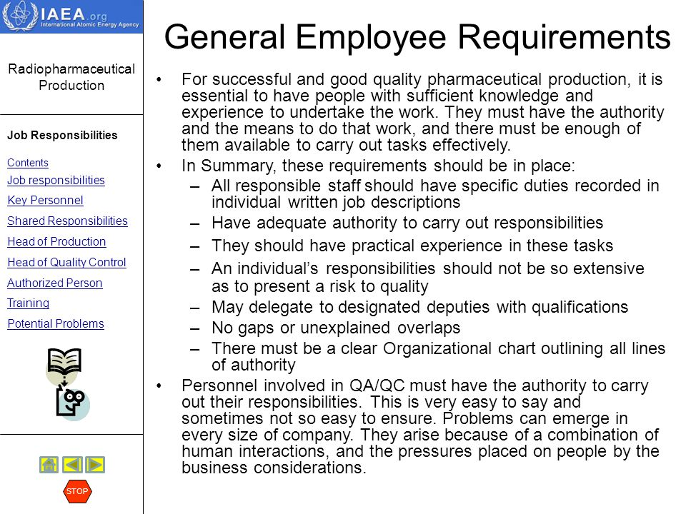 General Employee Requirements