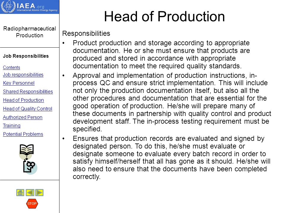 Head of Production Responsibilities