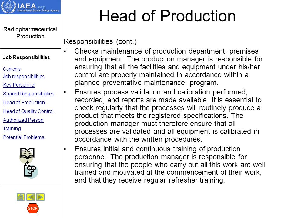 Head of Production Responsibilities (cont.)