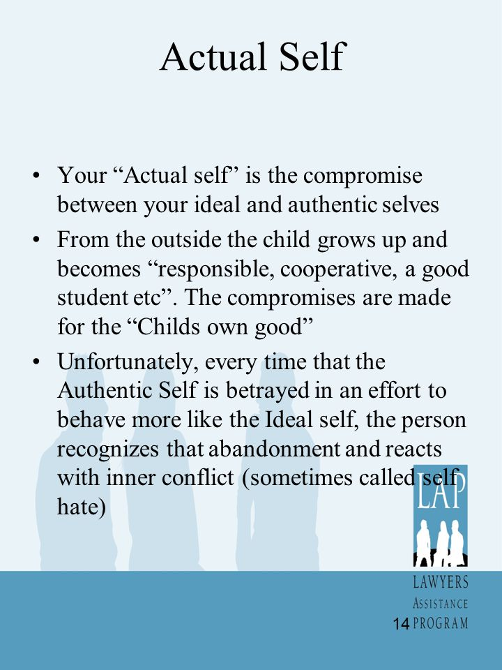 Actual Self Your Actual self is the compromise between your ideal and authentic selves.