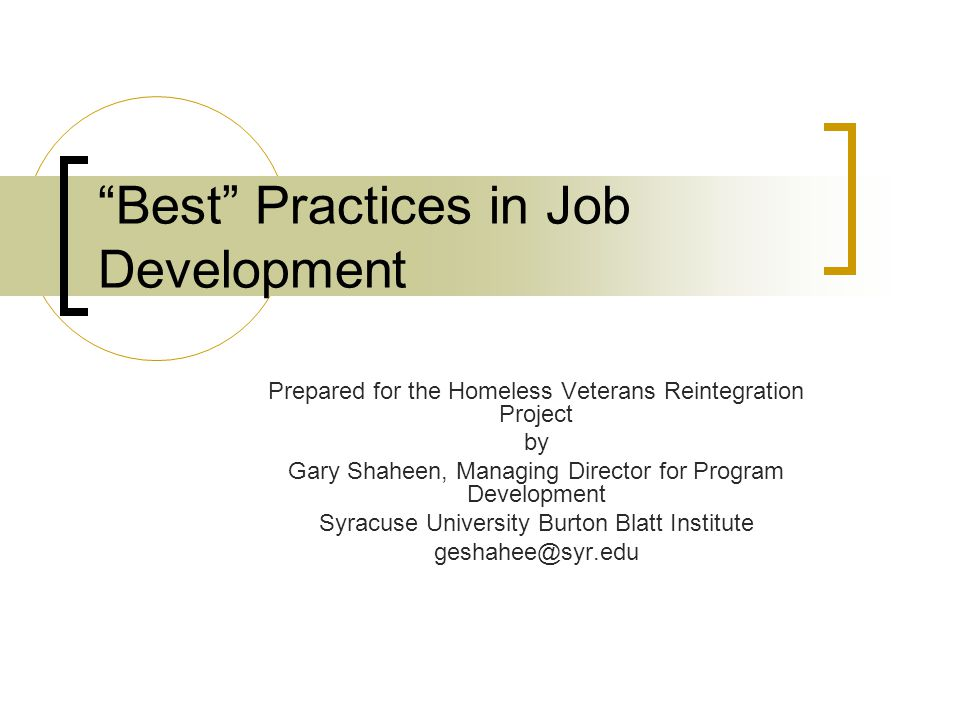 Best Practices in Job Development