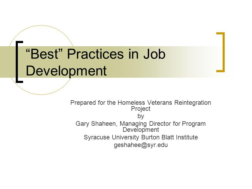 Best Practices in Job Development