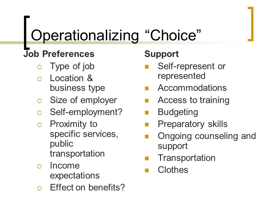 Operationalizing Choice