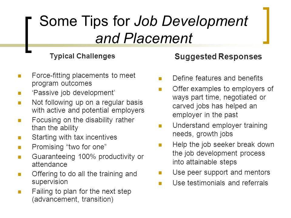 Some Tips for Job Development and Placement