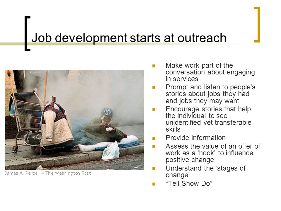 Job development starts at outreach