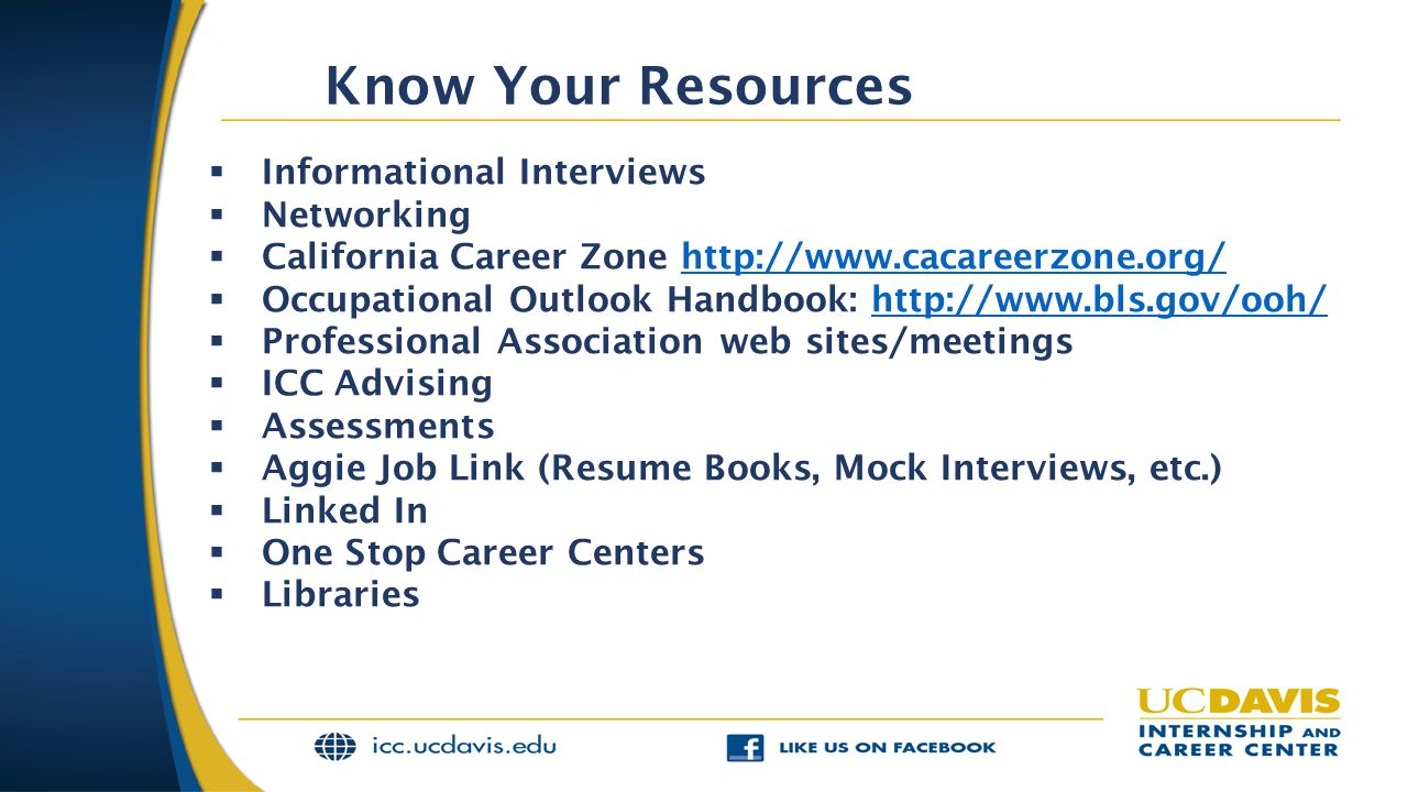 Know Your Resources Informational Interviews Networking