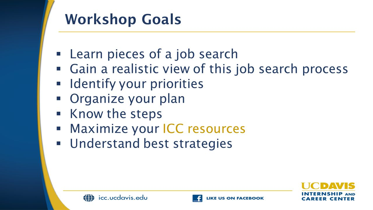 Workshop Goals Learn pieces of a job search