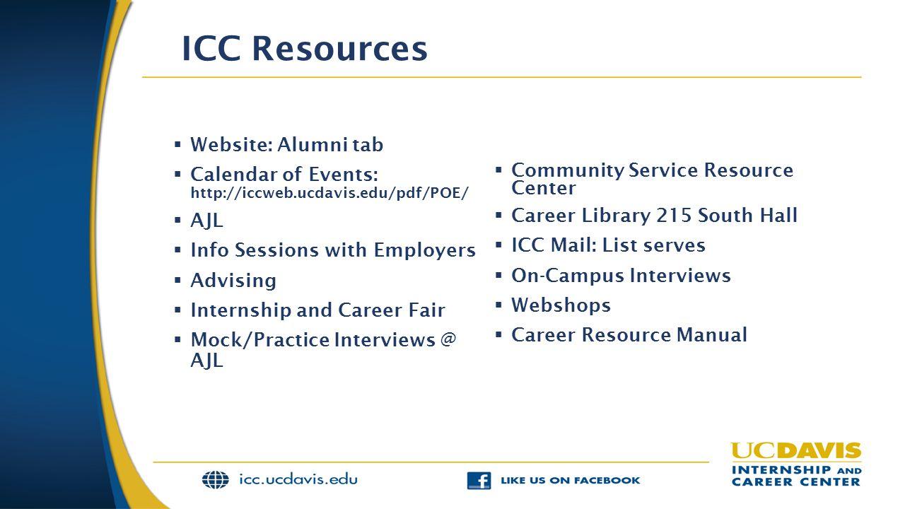 ICC Resources Website: Alumni tab