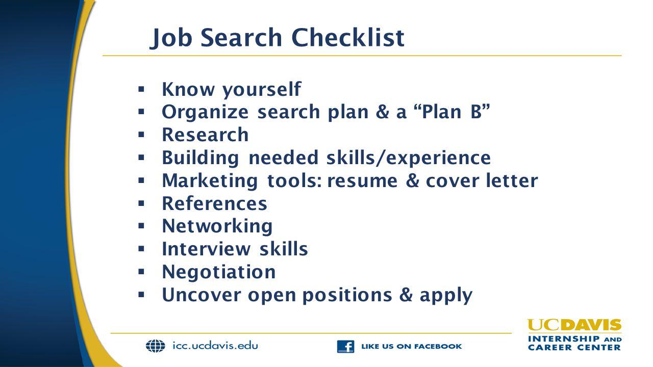 Job Search Checklist Know yourself Organize search plan & a Plan B