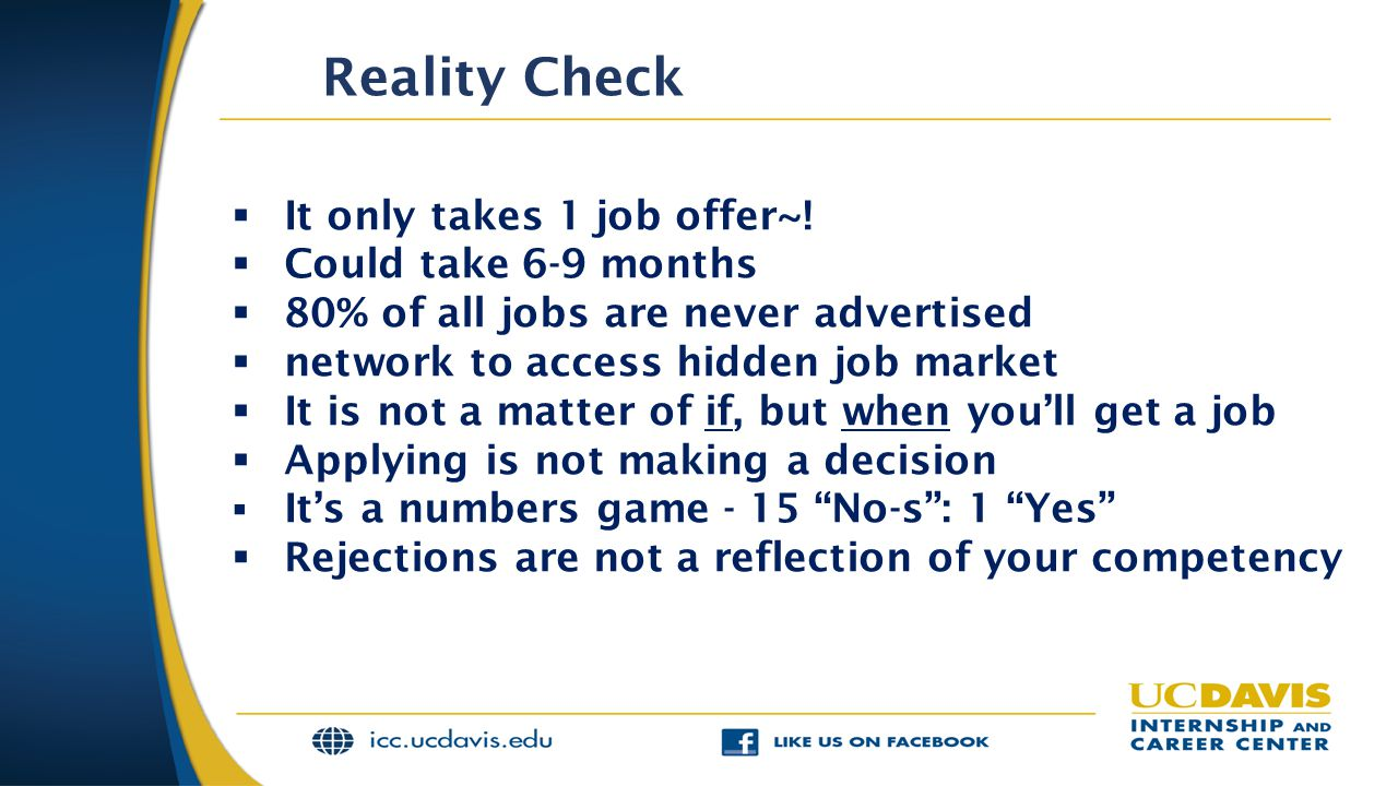 Reality Check It only takes 1 job offer~! Could take 6-9 months