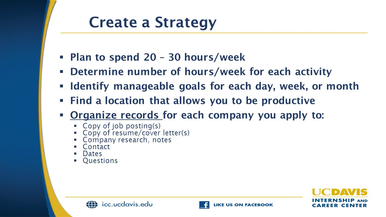 Create a Strategy Plan to spend 20 – 30 hours/week