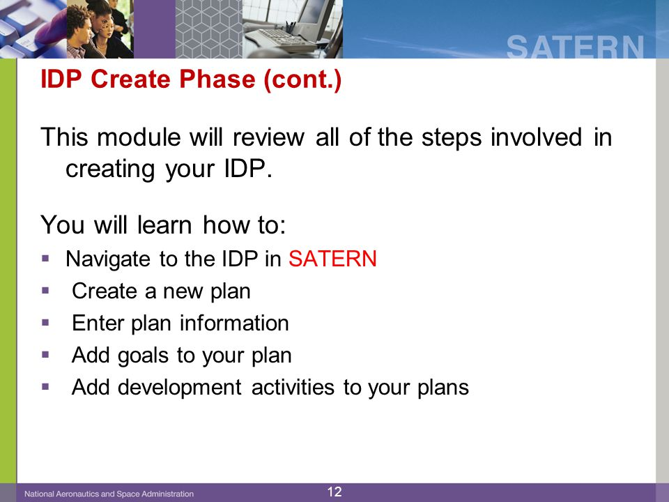 IDP Create Phase (cont.)