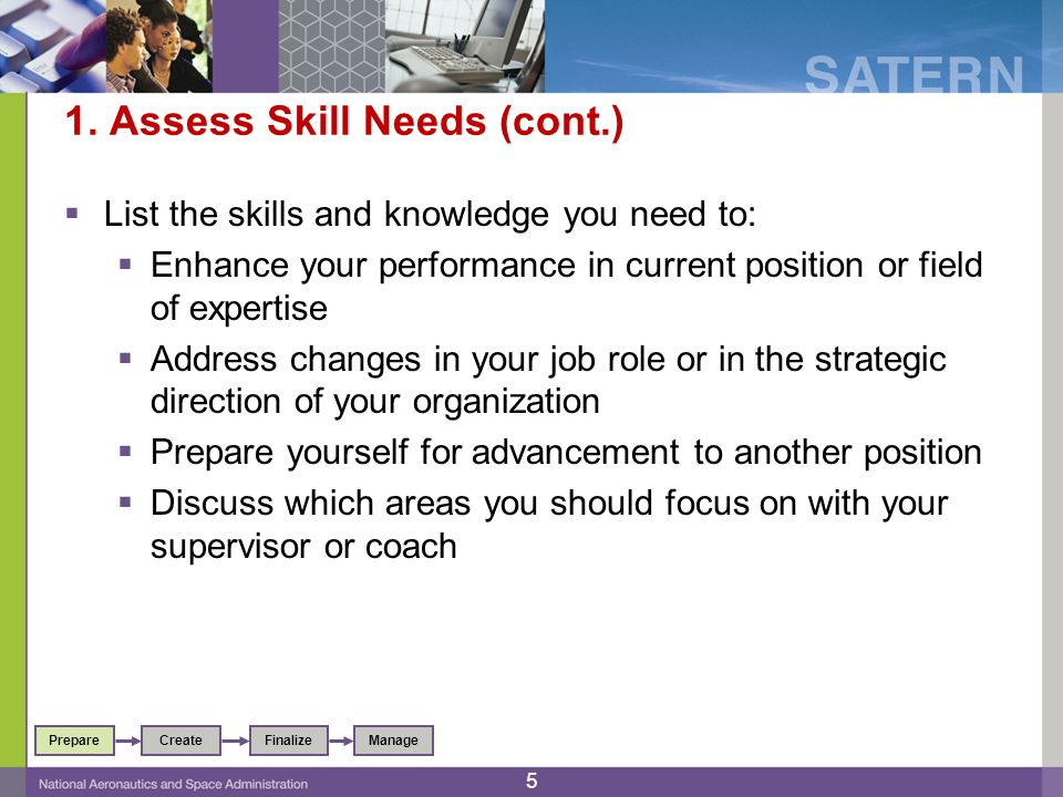 1. Assess Skill Needs (cont.)