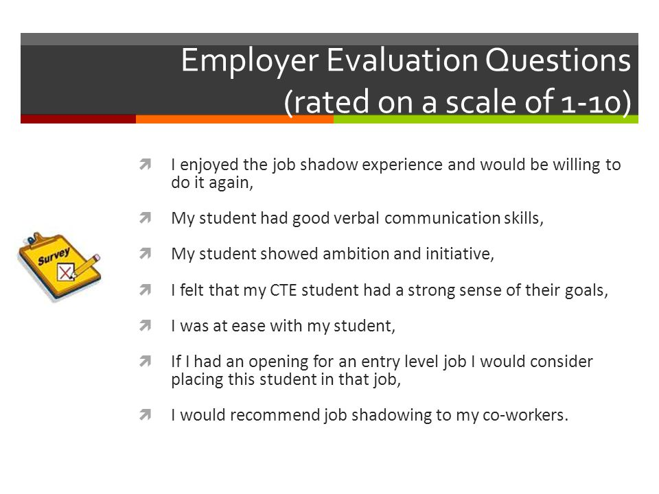Employer Evaluation Questions (rated on a scale of 1-10)