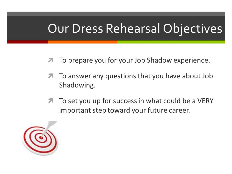 Our Dress Rehearsal Objectives