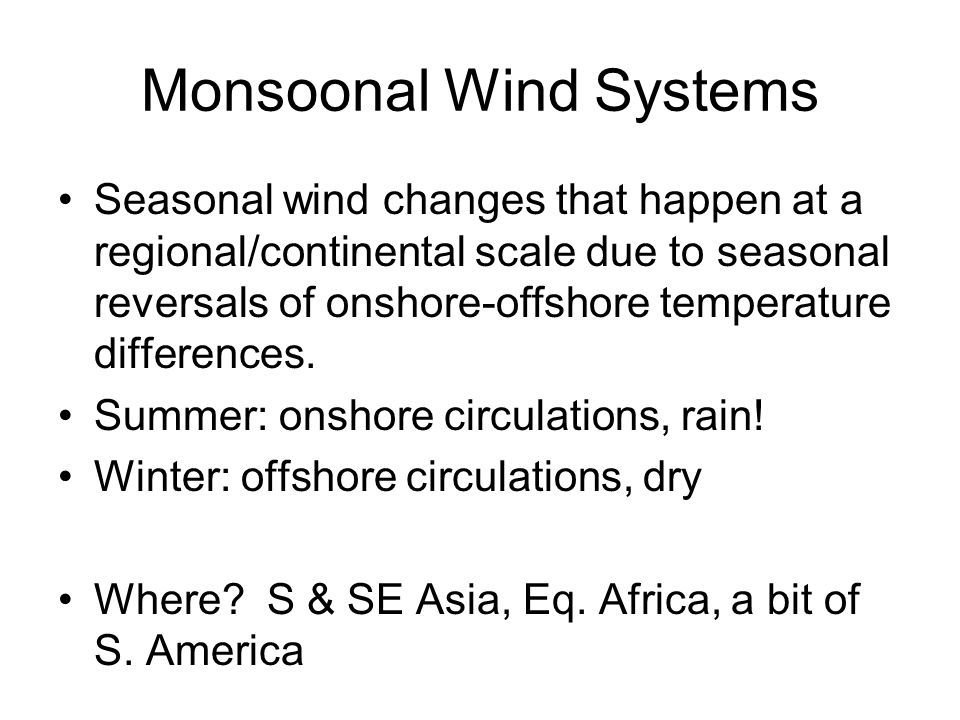 Monsoonal Wind Systems