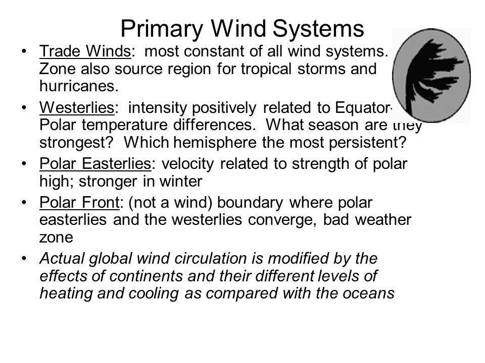 Primary Wind Systems Trade Winds: most constant of all wind systems. Zone also source region for tropical storms and hurricanes.