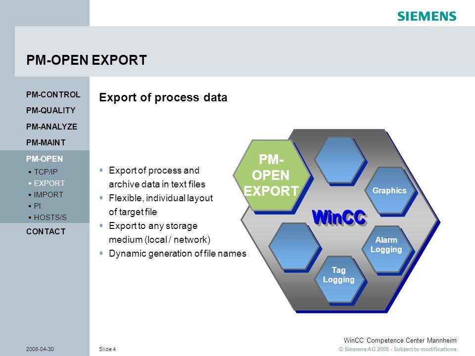 PM-OPEN EXPORT PM- OPEN EXPORT Export of process data