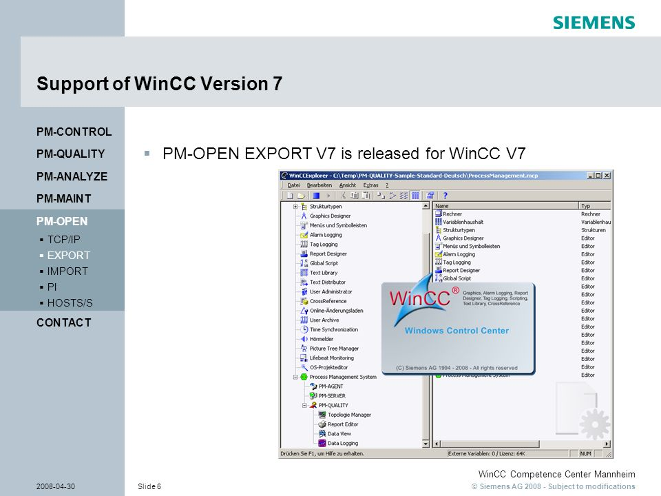 Support of WinCC Version 7
