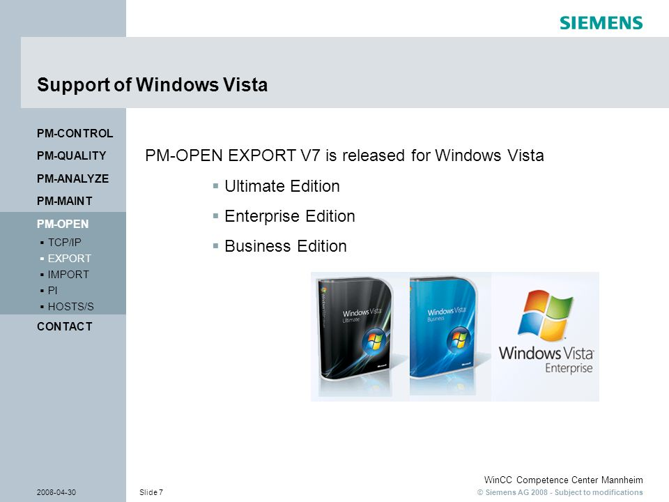 Support of Windows Vista