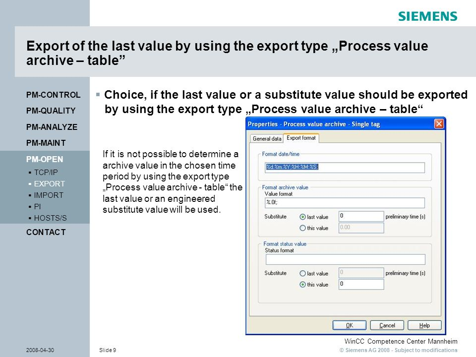 "Export of the last value by using the export type ""Process value archive – table"