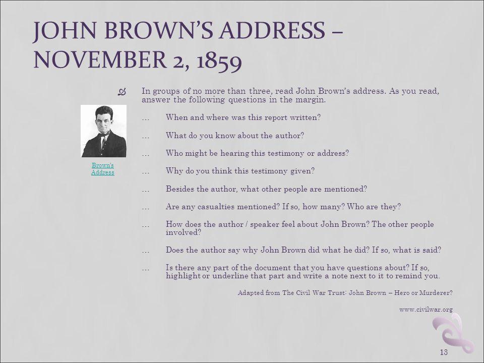 JOHN BROWN'S ADDRESS – NOVEMBER 2, 1859