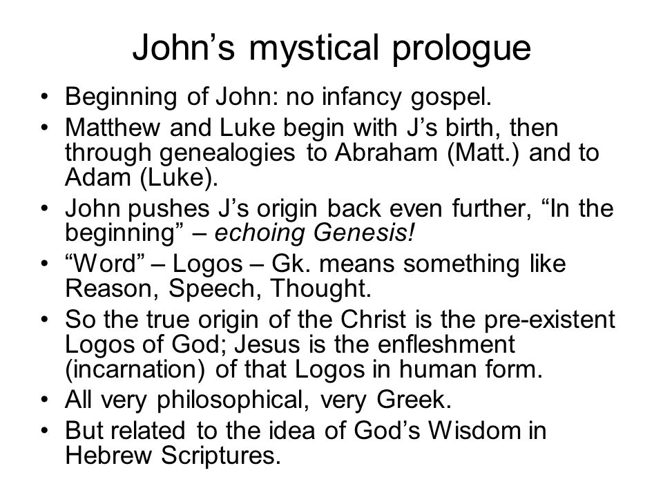John's mystical prologue