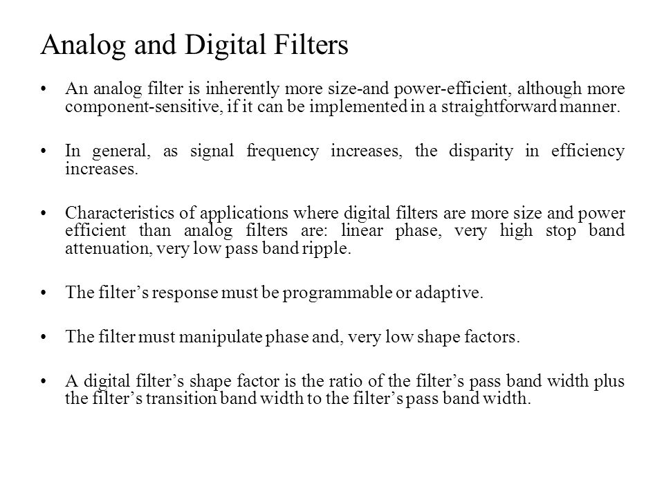 Analog and Digital Filters