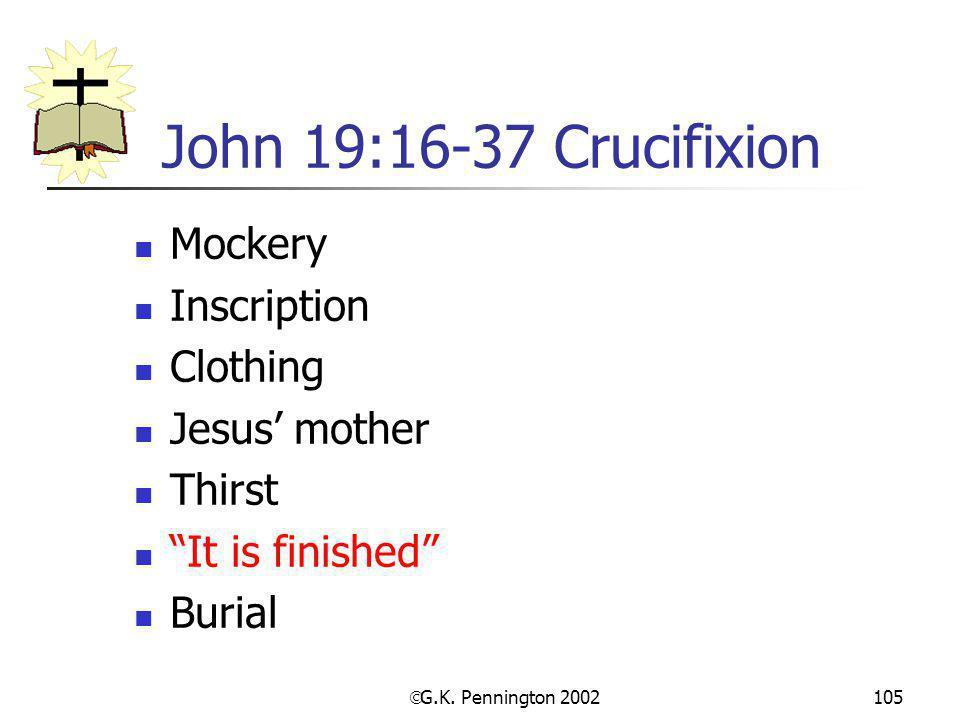 John 19:16-37 Crucifixion Mockery Inscription Clothing Jesus' mother