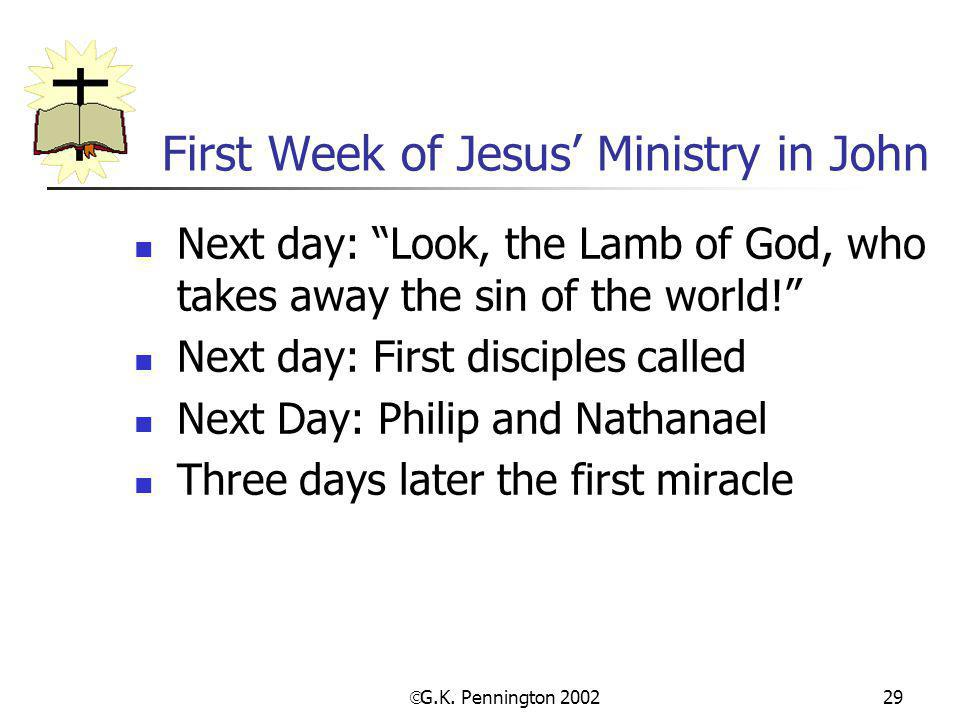 First Week of Jesus' Ministry in John