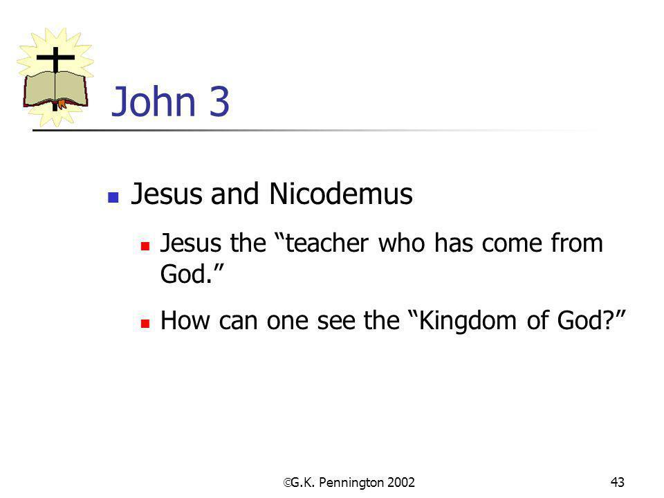 John 3 Jesus and Nicodemus Jesus the teacher who has come from God.