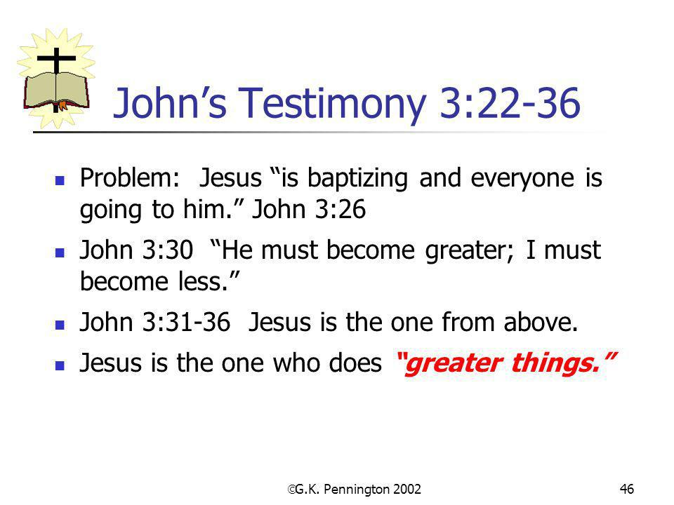John's Testimony 3:22-36 Problem: Jesus is baptizing and everyone is going to him. John 3:26.