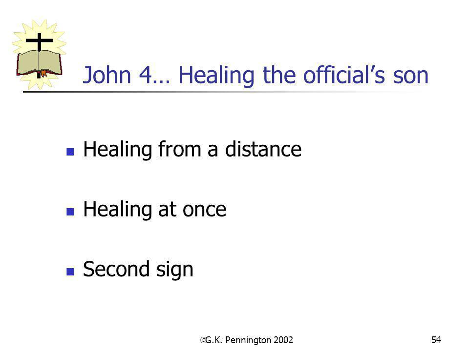 John 4… Healing the official's son