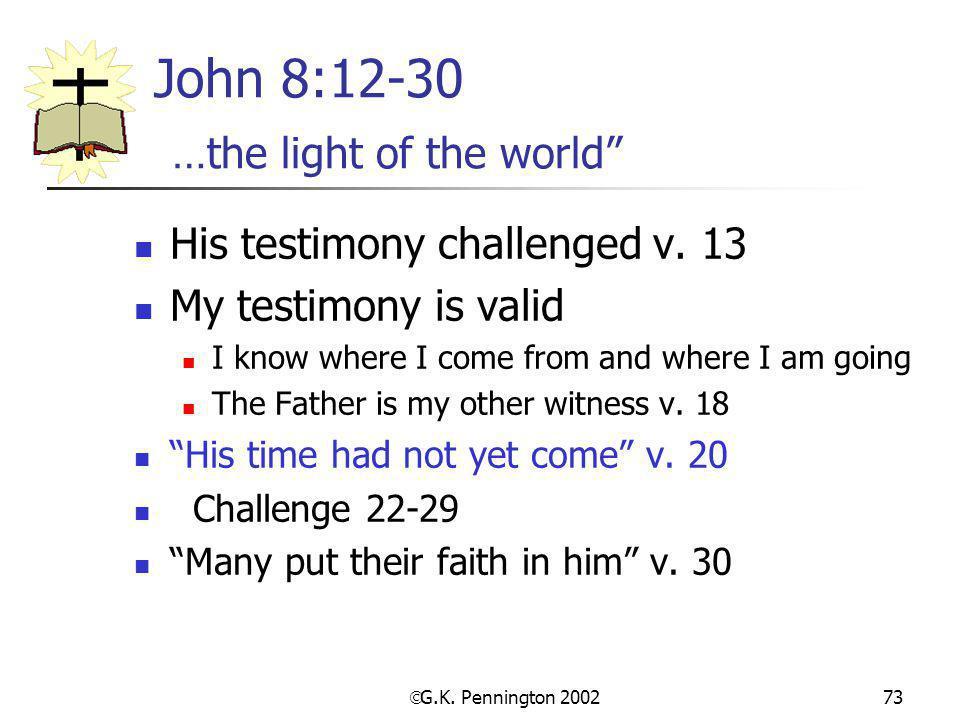 John 8:12-30 …the light of the world