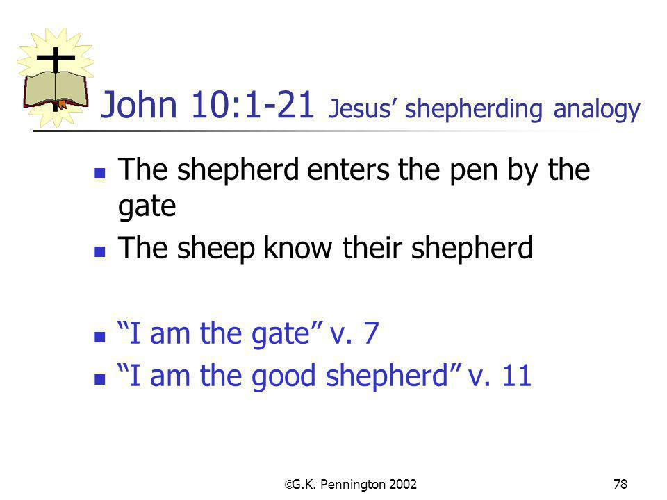 John 10:1-21 Jesus' shepherding analogy