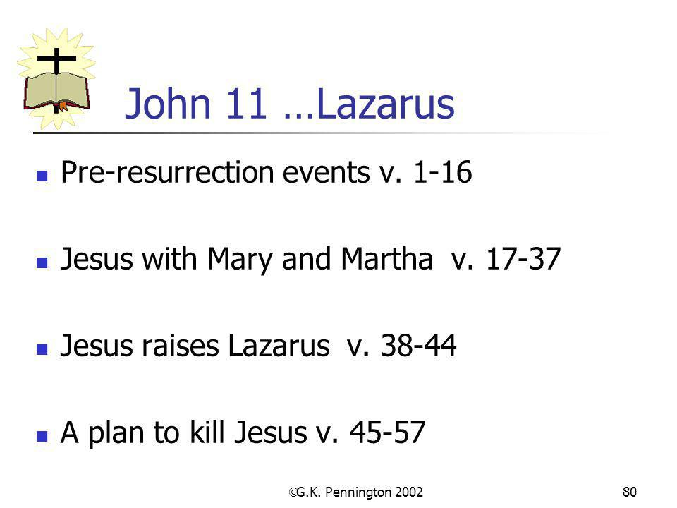 John 11 …Lazarus Pre-resurrection events v. 1-16