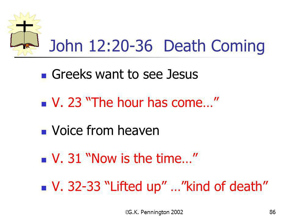 John 12:20-36 Death Coming Greeks want to see Jesus