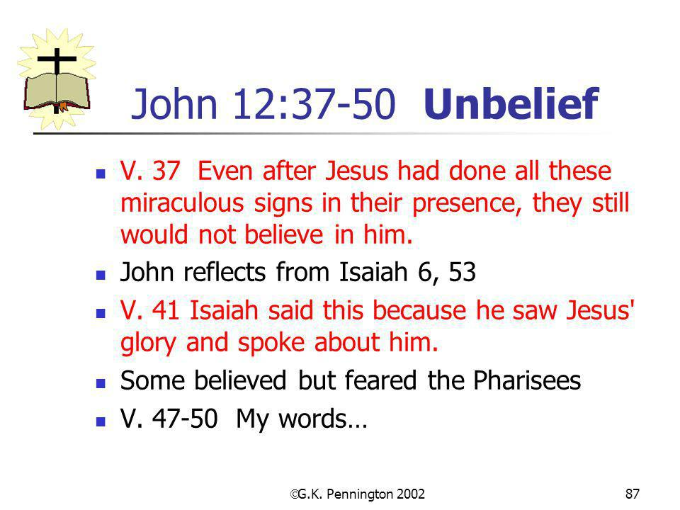 John 12:37-50 Unbelief V. 37 Even after Jesus had done all these miraculous signs in their presence, they still would not believe in him.