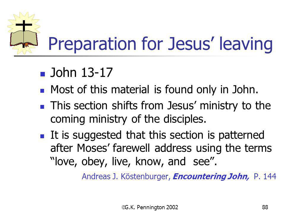 Preparation for Jesus' leaving