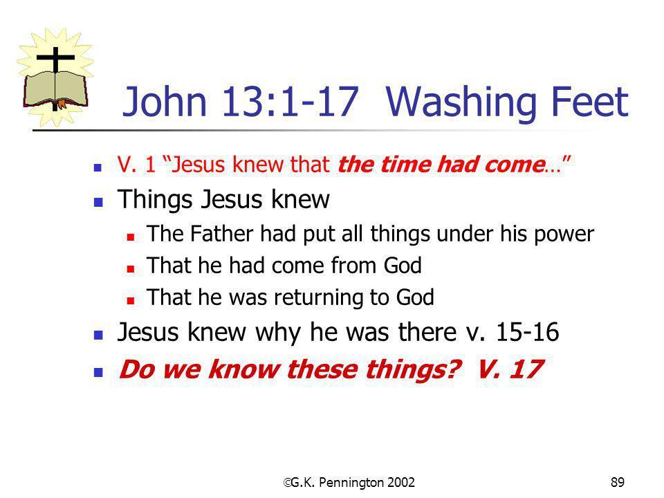 John 13:1-17 Washing Feet Things Jesus knew