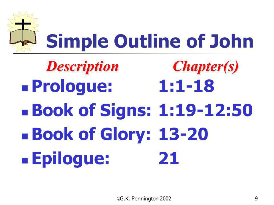 Simple Outline of John Prologue: 1:1-18 Book of Signs: 1:19-12:50