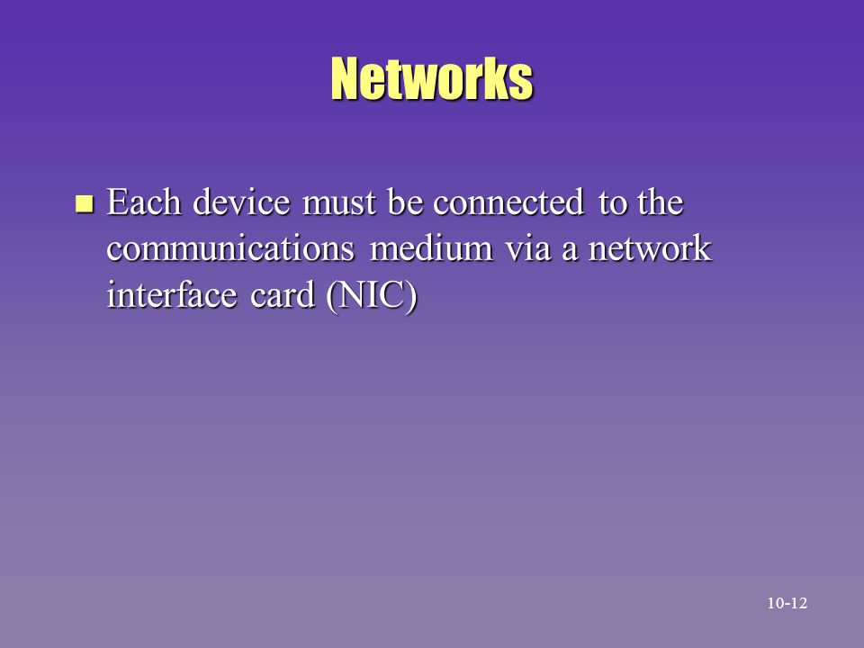 Networks Each device must be connected to the communications medium via a network interface card (NIC)