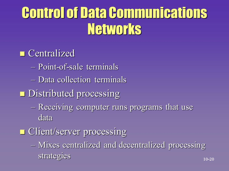 Control of Data Communications Networks