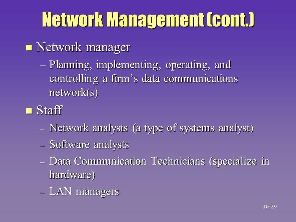 Network Management (cont.)