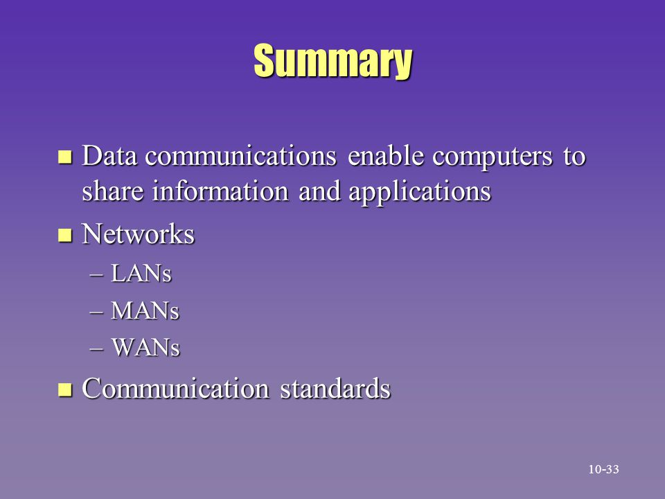 Summary Data communications enable computers to share information and applications. Networks. LANs.
