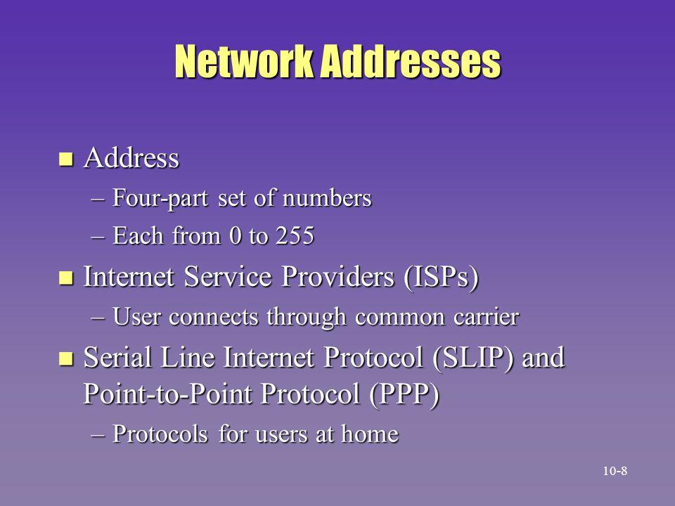 Network Addresses Address Internet Service Providers (ISPs)