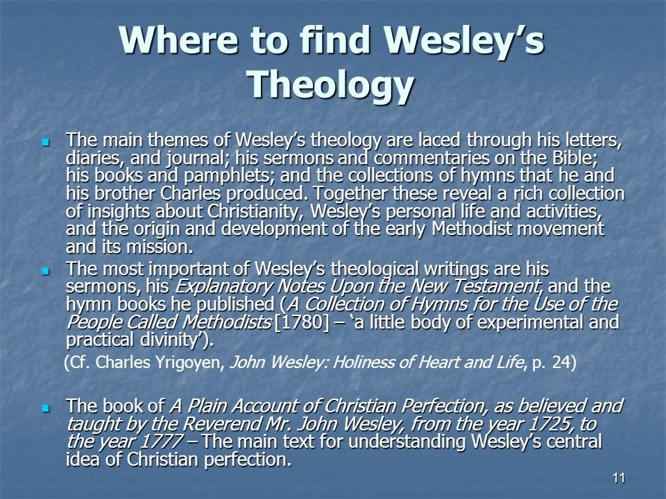 Where to find Wesley's Theology