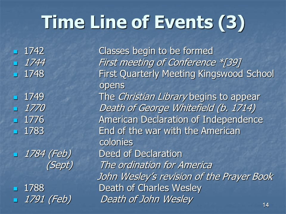 Time Line of Events (3) 1742 Classes begin to be formed