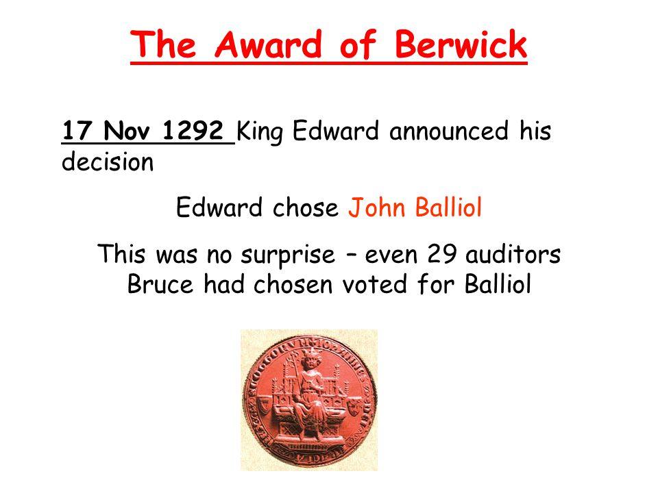 Edward chose John Balliol