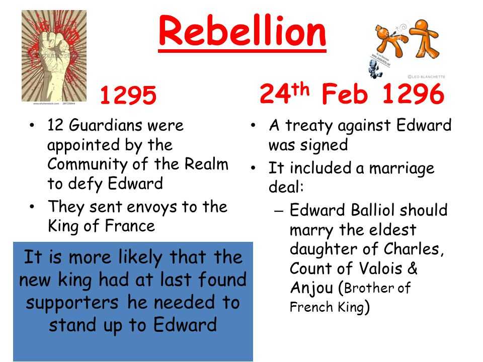 Rebellion 1295. 24th Feb 1296. 12 Guardians were appointed by the Community of the Realm to defy Edward.